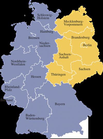 Mapa de Alemania con los 16 estados federdos